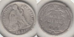 1891O SEATED DIME MOST OF LIBERTY SHOWS