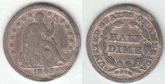 1849 HALF DIME BETTER DATE SHALLOW DENT