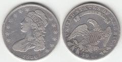 NICE F-VF 1836 BUST HALF DOLLAR LETTERED EDGE