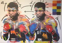 MUHAMMAD ALI DOUBLE JOHN STANGO ACRYLIC ON CANVAS SOLD!