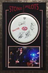 """Stone Temple Pilots Signed 16"""" Drumhead all 4 members SOLD!"""