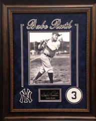 Babe Ruth 8x10 Photo Framed With Engraved Autograph Replica