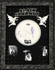 Signed by 3 Black Sabbath Drum head Shadowbox