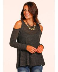 Panhandle Cold Shoulder Waffle Top