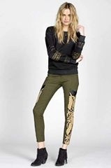 Miss Me Vintage Green Olive pants with Leather