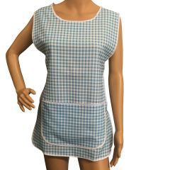 Tabards with large pocket and side fastening, 100% Polyester for excellent wear and wash-ability, Offered in 6 pleasing Gingham pattern colours and 6 sizes.. LIGHT BLUE Size XOS 20-22