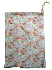 Cotton Drawstring Bags with Floral Design, Size 25cm x 35cm. Multi coloured pastel shades