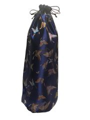 Drawstring Bottle Bags in Chinese Brocade, a Satin type material, colour choice Royal Blue, Butterfly motif