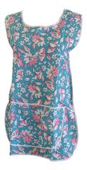 Tabards, (Claire) in 100% polyester Size 16-18/OS Floral Aqua pattern, with White Trim, large pocket, side adjustment, choice of colour and size, FREE UK POST AND PACKING, Only £5.99 each,