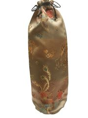 Drawstring Bottle Bags in Chinese Brocade, a Satin type material, colour choice Gold with Dragon motif