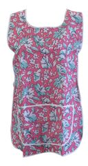 Tabards, (Claire) in 100% polyester Size 12-14/WX Floral Pink pattern, with White Trim, large pocket, side adjustment, choice of colour and size, FREE UK POST AND PACKING, Only £5.99 each,