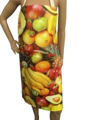 Adult ''Fruit'' design. 'Easy Wipe Clean' pvc aprons, full size traditional bib aprons, FREE UK POST AND PACKING