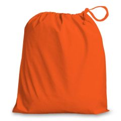 Drawstring Bags in Polycotton 38cm x 43cm Orange, matching fabric drawstring closure, 46 colours plus 9 sizes, FREE UK POSTAGE on orders over £5.00