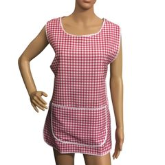 Tabards, (Carol) in 100% polyester Size 18-20/XOS Red Gingham pattern, with White Trim, large pocket, side adjustment, choice of colour and size, FREE UK POST AND PACKING, Only £5.99 each,