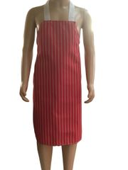 Child's Waterproof 'Butchers Stripe Style' Aprons, Size 4 years old to 6 years old RED