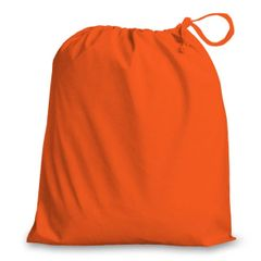 Drawstring Bags in Polycotton 46cm x 60cm Orange, matching fabric drawstring closure, 46 colours plus 9 sizes, FREE UK POSTAGE on orders over £5.00