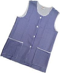 Tabards-Button Thro Overall, (Elaine) in 100% polyester Size 16-18/OS Navy Blue Gingham pattern, with White Trim, 2 pockets, choice of colour and size, FREE UK POST AND PACKING, Only £5.99 each,