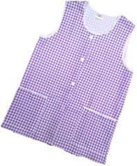 Tabards-Button Thro Overall, (Elaine) in 100% polyester Size 12-14/WX Lilac Gingham pattern, with White Trim, 2 pockets, choice of colour and size, FREE UK POST AND PACKING, Only £5.99 each,