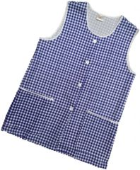 Tabards-Button Thro Overall, (Elaine) in 100% polyester Size 12-14/WX Navy Blue Gingham pattern, with White Trim, 2 pockets, choice of colour and size, FREE UK POST AND PACKING, Only £5.99 each,