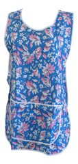 Tabards, (Claire) in 100% polyester Size 18-22/XOS Floral Royal pattern, with White Trim, large pocket, side adjustment, choice of colour and size, FREE UK POST AND PACKING, Only £5.99 each,