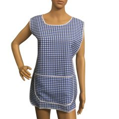 Tabards, (Carol) in 100% polyester Size 12-14/WX Royal Blue Gingham pattern, with White Trim, large pocket, side adjustment, choice of colour and size, FREE UK POST AND PACKING, Only £5.99 each,