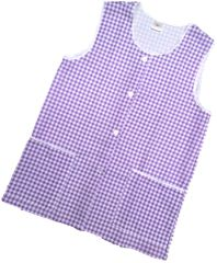 Tabards-Button Thro Overall, (Elaine) in 100% polyester Size 8-10/WMS Lilac Gingham pattern, with White Trim, 2 pockets, choice of colour and size, FREE UK POST AND PACKING, Only £5.99 each,