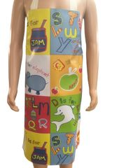 Children's 7-10 year old PVC 'easy wipe clean aprons, ALPHABET