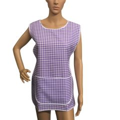 Tabards, (Carol) in 100% polyester Size 12-14/WX Lilac Gingham pattern, with White Trim, large pocket, side adjustment, choice of colour and size, FREE UK POST AND PACKING, Only £5.99 each,