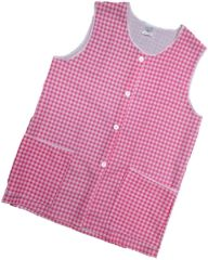 Tabards-Button Thro Overall, (Elaine) in 100% polyester Size 8-10/WMS Pink Gingham pattern, with White Trim, 2 pockets, choice of colour and size, FREE UK POST AND PACKING, Only £5.99 each,