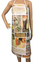 Adult ''Beer'' design. 'Easy Wipe Clean' pvc aprons, full size traditional bib aprons, FREE UK POST AND PACKING