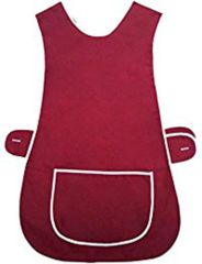 Tabards in 65%polyester/35% Cotton, Plain Burgundy WITH WHITE TRIM, large pocket, side adjustment, choice of colour and size, FREE UK POST AND PACKING, Only £5.99 each,