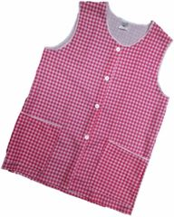 Tabards-Button Thro Overall, (Elaine) in 100% polyester Size 8-10/WMS Red Gingham pattern, with White Trim, 2 pockets, choice of colour and size, FREE UK POST AND PACKING, Only £5.99 each,