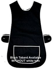 Tabards in 65%polyester/35% Cotton, 12-14/WX Plain Black WITH WHITE TRIM, large pocket, side adjustment, choice of colour and size, FREE UK POST AND PACKING, Only £5.99 each,