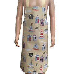 Children's 7-10 yr old 'Beach Hut' Easy Wipe Clean PVC aprons, 7-10 year old, FREE UK POSTAGE