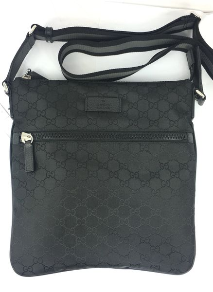 1dea1ff64a3 Gucci GG Black Nylon Canvas Medium Zip Top Messenger Bag  449184 ...