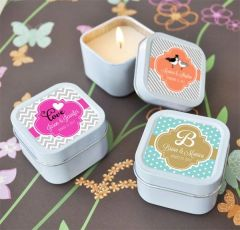 Personalised Square Travel Candle Tins - Wedding Theme