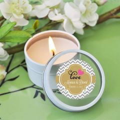 Personalised Round Travel Candle Tins - Wedding Theme