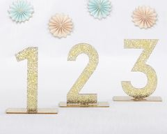 Gold Glitter Acrylic Table Numbers (set of 6)
