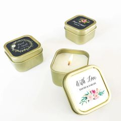 Personalised Floral Garden Gold Square Candle Tins