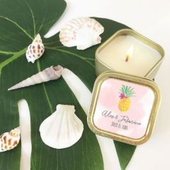Personalised Tropical Beach Gold Square Candle Tins
