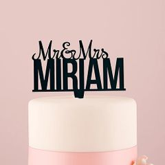 Personalised Mr. And Mrs. Black Acrylic Cake Topper