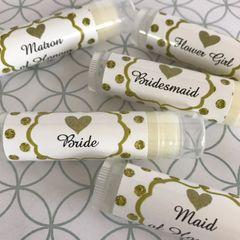 Bridal Party Lip Balms - Gold Dots Theme