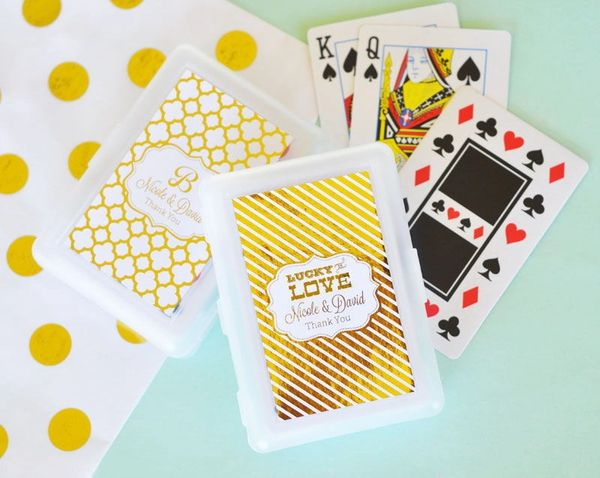 Personalised Mettalic Foil Playing Cards Wedding Theme