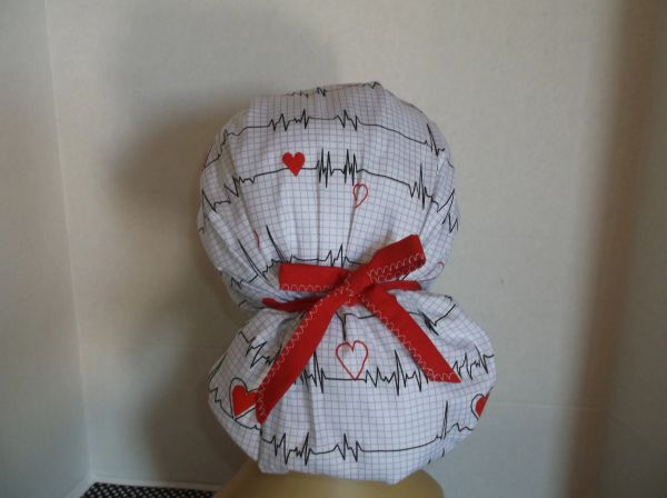 Heart Beat  Bouffant  Ponytail  Surgical  Chemo  Chef  Scrub  Hat ... f812c31d38f