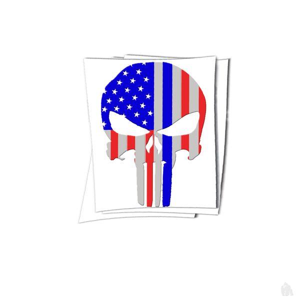 punisher skull american flag sticker