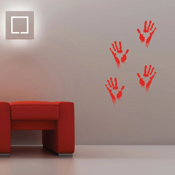 bloody hand zombie wall decals