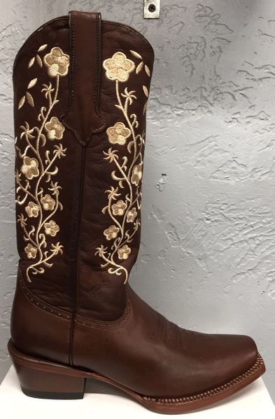 Turin Dark Coffee Ladies Pull Up Western Boot. All Leather Square Toe. TML205029.