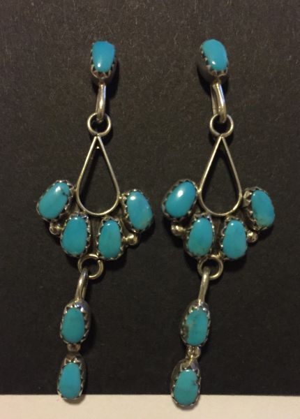 7 stone turquoise & sterling silver signed earrings.