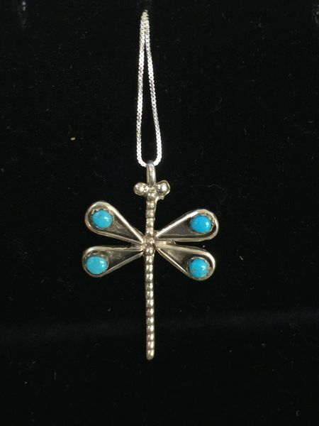 """HANDMADE STERLING SILVER DRAGON FLY PENDANT 18"""" CHAIN"""