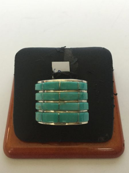 Signed Jamie Johnson turquoise inlay ring sterling silver.